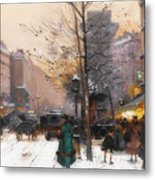 Paris, Porte Saint Denis In Winter Metal Print