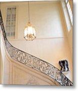 Paris Rodin Museum Staircase - Rod Iron Black Staircase Archictecture - Paris Museum Staircase Print Metal Print