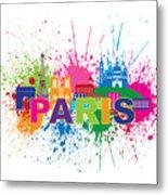 Paris Skyline Paint Splatter Text Illustration Metal Print
