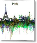 Paris Skyline Watercolor Metal Print
