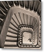 Paris Staircase - Sepia Metal Print