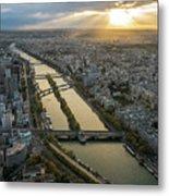 Paris Sunrays Dusk Along The Seine Metal Print