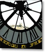 Paris Through The Clock Metal Print