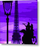 Paris Tour Eiffel Violet Metal Print