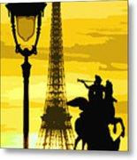 Paris Tour Eiffel Yellow Metal Print
