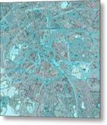 Paris Traffic Abstract Blue Map Metal Print