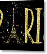 Paris Typografie - Gold Splashes Metal Print