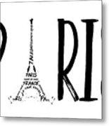 Paris Typography Metal Print