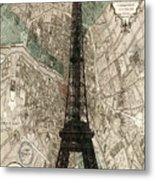 Paris Vintage Map And Eiffel Tower Metal Print