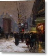 Paris Winter Scene Metal Print