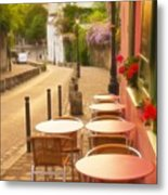 Parisian Cafe' Sunset Metal Print