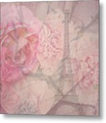 Parisian Romantic Collage Metal Print