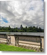 Park Bench Along Capitol Lake In Olympia Washington Metal Print