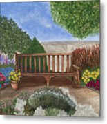 Park Bench In A Garden Metal Print