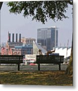 Park Bench Reading Metal Print