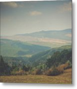 Park Bench Series - Misty Mountains Metal Print