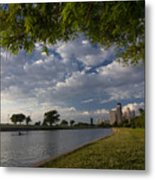 Park Scene With Rower And Skyline Metal Print
