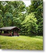 Park Shelter In Lush Forest Landscape Metal Print