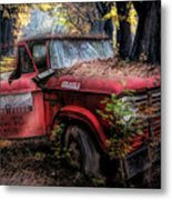 Parked On A Country Road Oil Painting Metal Print