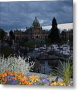 Parliament Building In Victoria At Dusk Metal Print