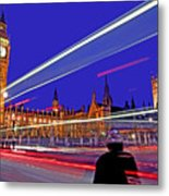 Parliament Square With Silhouette Metal Print by Chris Smith