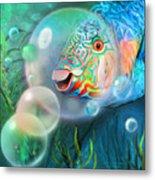 Parrot Fish - Through A Bubble Metal Print