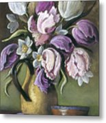 Parrot Tulips In Yellow Pitcher Metal Print