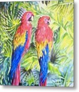 Parrots In Jungle Metal Print