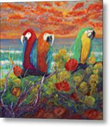 Parrots On Sunset Beach Metal Print