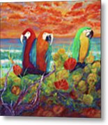 Parrots On The Beach Painterly Metal Print