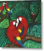 Parrots Preening Metal Print