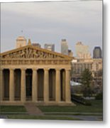 Parthenon With Nashville Skyline  Metal Print