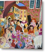 Party In The Courtyard Metal Print