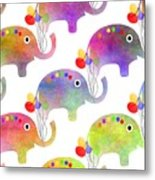 Party Parade - Elephant Children Pattern Metal Print