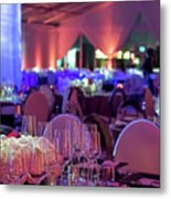 Party Setting With Colorful Bokeh Background Metal Print