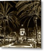Pasadena City Hall After Dark In Sepia Tone Metal Print