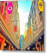 Passage Between Colorful Buildings Metal Print