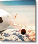 Passenger Airplane Flying At Sunshine, Blue Sky. Metal Print