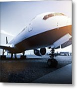 Passenger Airplane On The Airport Parking Metal Print
