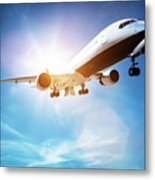 Passenger Airplane Taking Off, Sunny Blue Sky. Metal Print