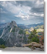 Passing Clouds Over Half Dome Metal Print