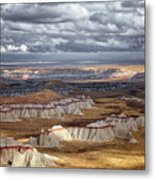 Passing Thunderstorms And Sun Breaks Highlight The Banded Hills Of Arizona's  Ha Ho No Geh Canyon. Metal Print