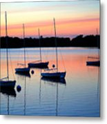 Pastel Lake And Boats Simphony Metal Print