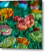 Pastel Poppies On Blue Haze Metal Print