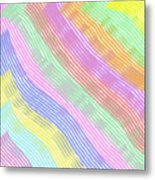 Pastel Stripes Angled Metal Print