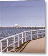 Pastel Tone Sea Pier Landscape Metal Print