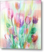 Pastel Tulips Collage Metal Print