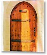 Pastel Wooden Door Metal Print