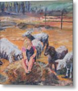 Pasture Acquaintances Metal Print