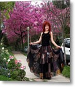 Patchwork Skirt - Hippie Fashion - Pink Spring Metal Print